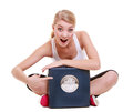 Sporty happy woman with scale weight loss time for slimming fit fitness blonde girl pointing on scales weightloss diet and healthy Royalty Free Stock Photo