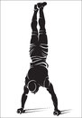 Sporty man doing street workout exercise handstand vector illustration Stock Photography