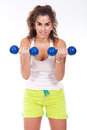 Sporty muscular woman working out Royalty Free Stock Images