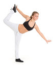 Sporty woman does exercises fitness beautiful on a white background Royalty Free Stock Photography
