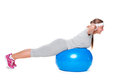 Sporty woman doing exercises on blue ball Stock Photography