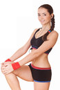 Sporty woman doing fitness exercises Stock Images