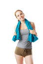Sporty woman after fitness workout with blue towel isolated on white Stock Image
