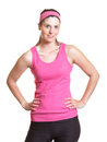 Sporty woman in pink jersey beautiful is ready for workout Royalty Free Stock Photo