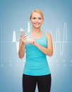 Sporty woman with smartphone sport excercise technology internet and healthcare Stock Photos