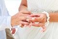Sposa che dà un anello di fidanzamento al suo sposo sotto il deco dell arco Fotografie Stock Libere da Diritti