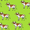 Spot cartoon cow pattern seamless on green background Royalty Free Stock Photo