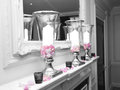 Spot colour candles vases black white Stock Photo