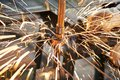 Spot welding machine reinforcement production at factory Stock Photo