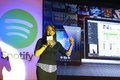 Spotify launch in taiwan on sep asian supervisor sunita kaur explain the interface Stock Image