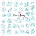 Spotless series | Hand drawn Baby,Toy icon set Royalty Free Stock Photo
