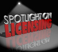 Spotlight licensing information official license on words to illustrate advice and tips on how to get licensed as an approved Stock Images