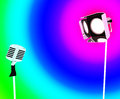 Spotlight and microphone shows concert showing entertaining or talent Stock Image