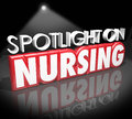 Spotlight on nursing career medical health care job licensed reg words in d letters to illustrate information working as a nurse Royalty Free Stock Photos