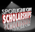 Spotlight on scholarships words tuition payment college degree in d letters to illustrate how to apply for and win help for Stock Photography