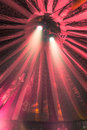 Spotlights in circus tent two bright under a red stripey vertical Royalty Free Stock Photography