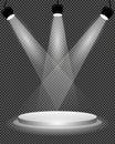 Náš tip na fáze stupínek a jasný světlo osvětlení na průhledný šablona  vektor ilustrace