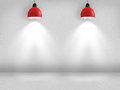 Spotlights on wall white empty interior with white in red lamp Royalty Free Stock Photos