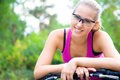 Spotry woman portrait of young sporty with bicycle outdoor Stock Images