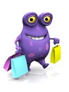 A spotted monster carrying shopping bags cute charming cartoon the is purple with big spots white background Royalty Free Stock Photos