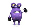 A spotted monster exercising with dumbbells cute charming cartoon he looks like it s too heavy the is purple big spots white Royalty Free Stock Photo
