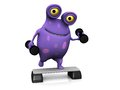 A spotted monster exercising with dumbbells cute charming cartoon and step up board the is purple big spots white Stock Images