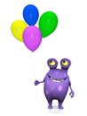 A spotted monster holding balloons cute charming cartoon four colorful in his hand the is purple with big spots white background Royalty Free Stock Images