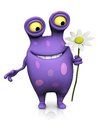 A spotted monster holding a big flower cute charming cartoon white in his hand the is purple with spots white background Stock Photography