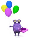 A spotted monster holding birthday gift and balloons cute charming cartoon in one hand four colorful in the other ready for party Stock Photos