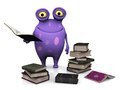 A spotted monster holding a book cute charming cartoon in his hand the is purple with big spots he is surrounded by piles of books Royalty Free Stock Images