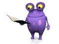 A spotted monster holding a book cute charming cartoon reading he is in his hand the is purple with big spots white background Stock Images