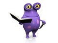 A spotted monster holding books cute charming cartoon in his hands the is purple with big spots white background Stock Images
