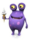 A spotted monster holding an ice cream cute charming cartoon soft cone in his hand the is purple with big spots white background Royalty Free Stock Photography
