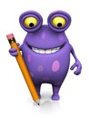 A spotted monster holding a large pencil cute charming cartoon very the is purple with big spots white background Royalty Free Stock Image