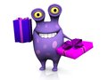 A spotted monster holding two birthday gifts cute charming cartoon the is purple with big spots white background Royalty Free Stock Photo