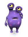 A spotted monster looking confused cute charming cartoon like he is and thinking about something scratching his head the is purple Royalty Free Stock Images