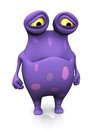 A spotted monster looking sad cute charming cartoon very the is purple with big spots white background Royalty Free Stock Photography