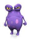 A spotted monster looking very angry cute charming cartoon the is purple with big spots white background Stock Photo