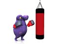A spotted monster punching a heavy bag cute charming cartoon wearing boxing gloves he looks angry ready to fight the is purple Royalty Free Stock Images