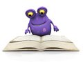 A spotted monster reading a big book cute charming cartoon sitting on the floor and the is purple with spots white background Royalty Free Stock Photo