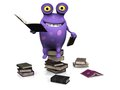 A spotted monster sitting on a pile of books cute charming cartoon and reading several piles are the floor around him the Royalty Free Stock Image