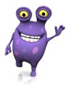 A spotted monster waving and looking very happy cute charming cartoon its hand with big smile the is purple with big spots white Royalty Free Stock Photo