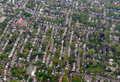 Sprawling suburban landscape full of houses and apartment buildings Royalty Free Stock Photo