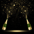 Spray Bottle of Champagne Golden Confetti Royalty Free Stock Photo