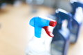 Spray bottle of disinfectant household cleaners various bottles Royalty Free Stock Photography