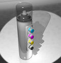 A spray can of paint and a remote control color CMYK. 3d render. Royalty Free Stock Photo