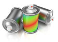 Spray cans with paint on white d rendered image Royalty Free Stock Images