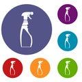 Sprayer bottle icons set