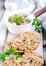 Spread on bread chicken liver and vegetable Stock Photos