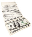Spread out pile us money notes white background Royalty Free Stock Photo
